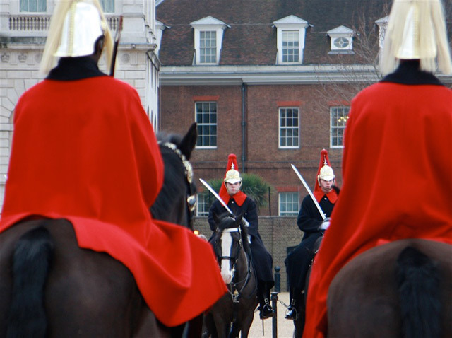 The Household Cavalry out on parade, Horseguards by Conrad.
