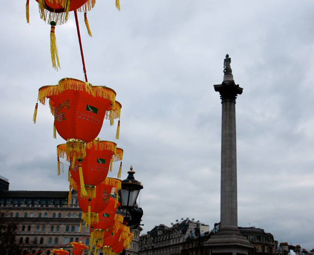 Nelson meets Chinese New Year in Trafalgar Square by Conrad.
