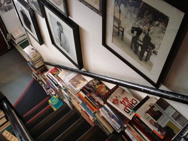 Books and books and books on the stairs
