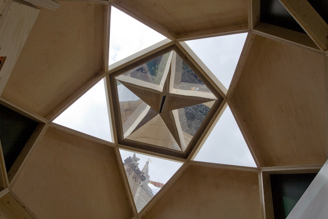 View through the roof of Southwark pod