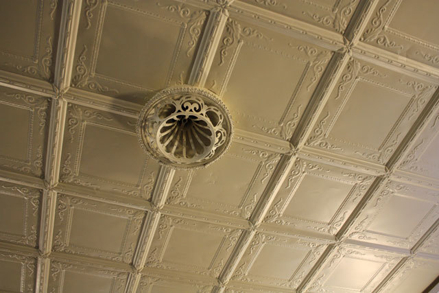 the rare tin ceiling in the room below the hall