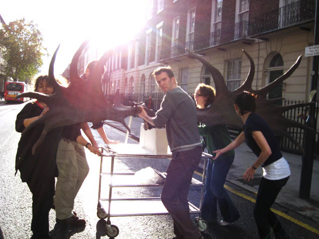 Elkie the giant deer trundles along Gower Street during renovations at the Grant Museum. (C) UCL, Grant Museum of Zoology.