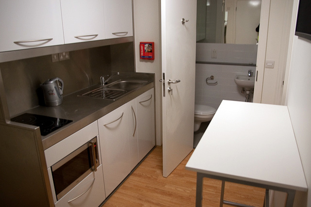 Somewhat cosy kitchen in a twin studio