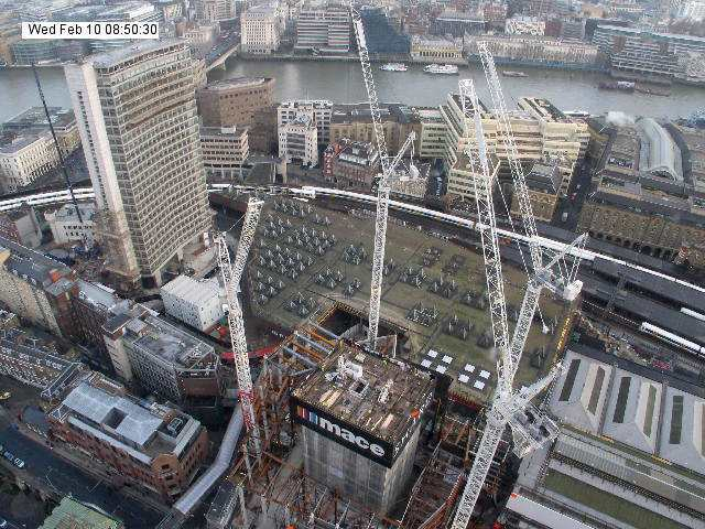 View from Guy's Hospital, from the Shard webcam. Note the other tall building at the left. This will be demolished to make way for another new office complex.