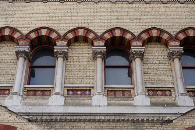 Close up of the windows at Abbey Mills.