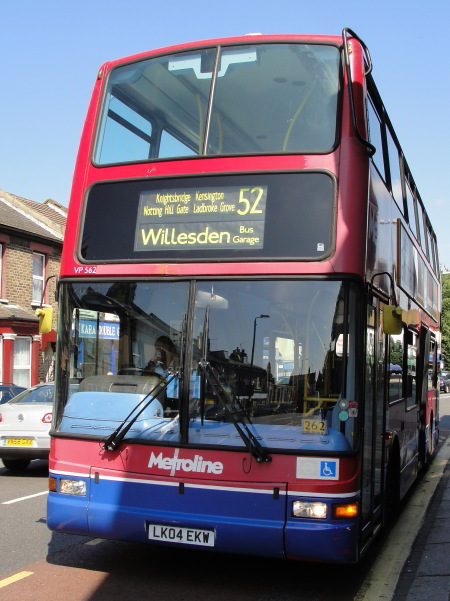 """""""And the No. 52 bus goes two ways. From the Willesden kaleidoscope, one can catch it south like the children; through Kensal Rise, to Portobello, to Knightsbridge... or you can get it north, as Samad did; Willesden, Dollis Hill, Harlesden."""" p.137, Ch 7 These days, the 52 terminates at Willesden"""