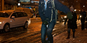 Unicyclist In The Snow