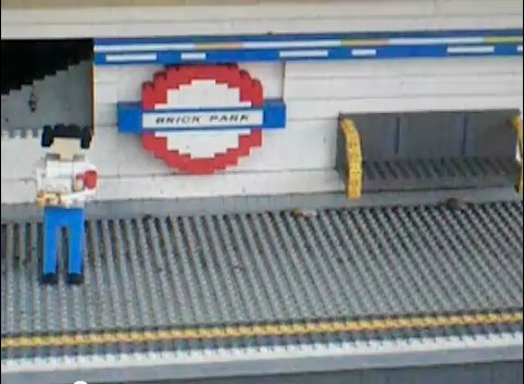 Brick Park, a model Tube station at Legoland, Windsor. There's a video of the model which, in a nice meta-textual touch, has its own brick-based Tube map.