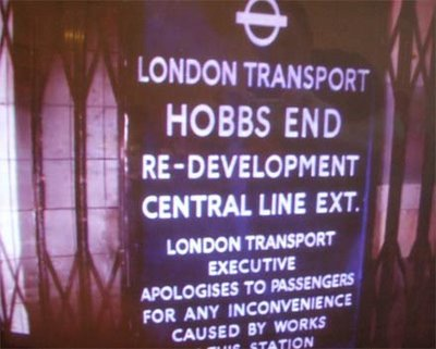 Hobbs End featured in the cult horror film Quartermass and the Pit. It was a new station on the Central line that became the nexus for some spooky goings-on ('hob' being an old word for the devil).  Ian Visits has more on a screening that featured a re-creation of the film's set.