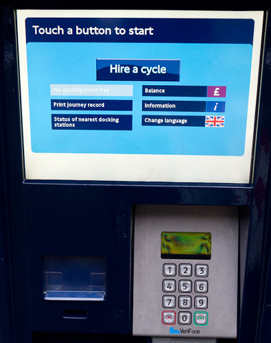 Docking station screen has a new 'Hire a bike' button.