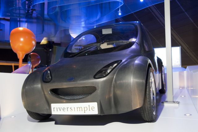 """Views of """"Atmosphere ...exploring climate science"""" gallery.  Image shows Shell of a Riversimple hydrogen powered car designed and manufactured by Riversimple LLP 2010"""