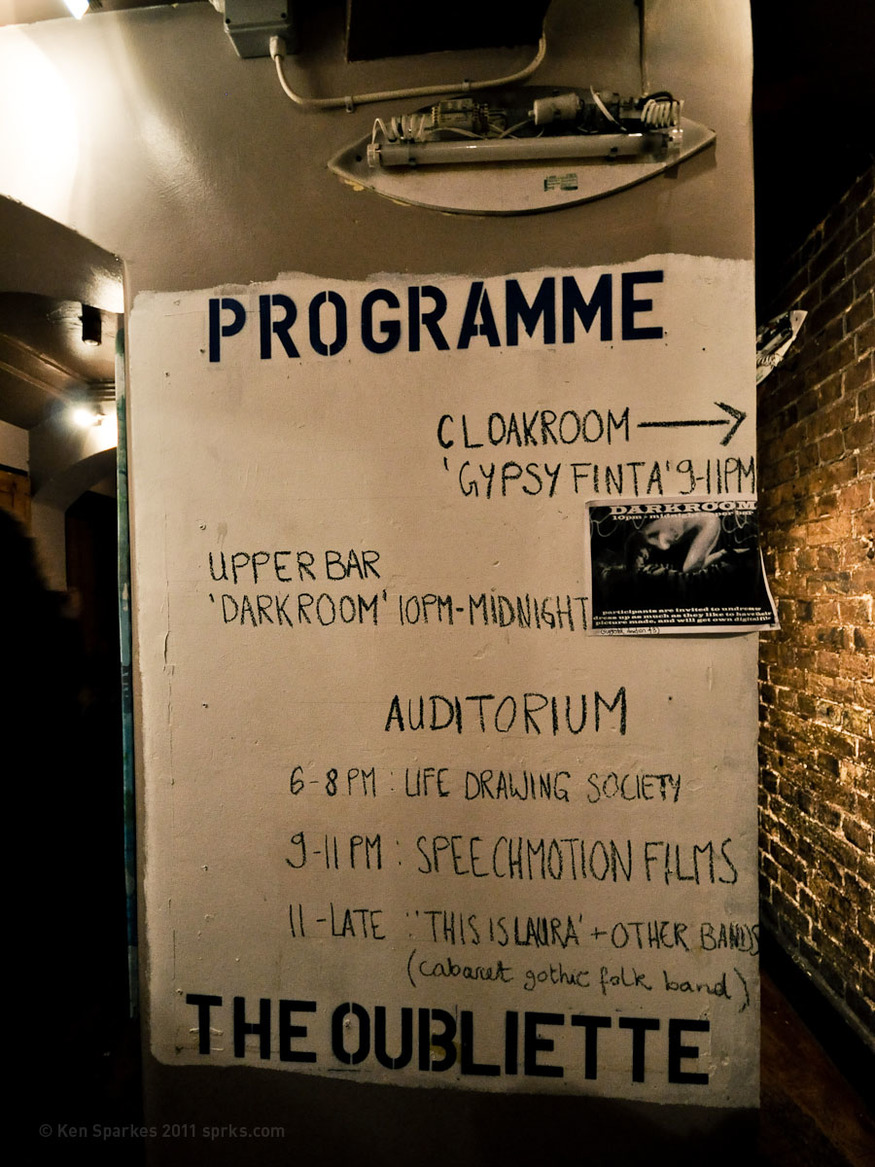 'In The Limelight' event at The Oubliette temporary squat at The Limelight, 136 Shaftesbury Avenue, London