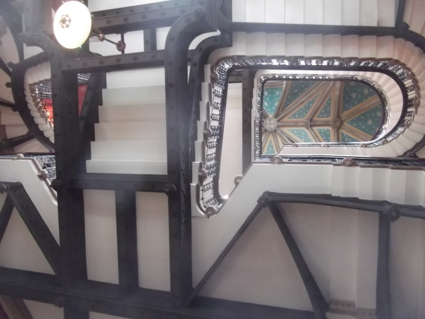 A bamboozling view up the staircase.