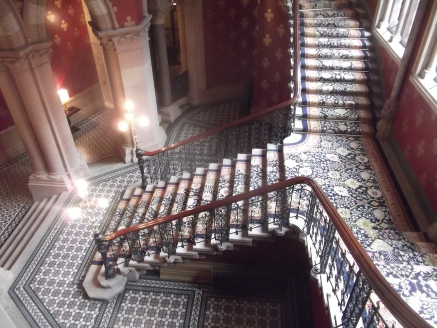 Looking down on the grand staircase.