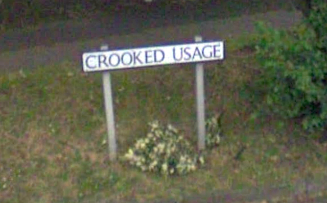 Crooked Usage in Finchley. We've mentioned this before, but it bears repeating.
