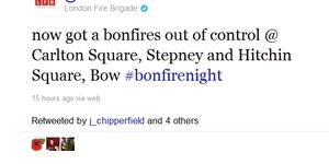 London Fire Brigade Live Tweets Bonfire Night