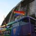 The rainbow bus flying the flag outside the Kia Oval Cricket Ground