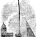 The Reform Tower was designed in 1832 to commemorate the passing of the Reform Act. Designed by Richard Trevithick, it would have stood 300m high. In the image it is shown in relation to St Paul's, the Great Pyramid of Giza, and the Monument.