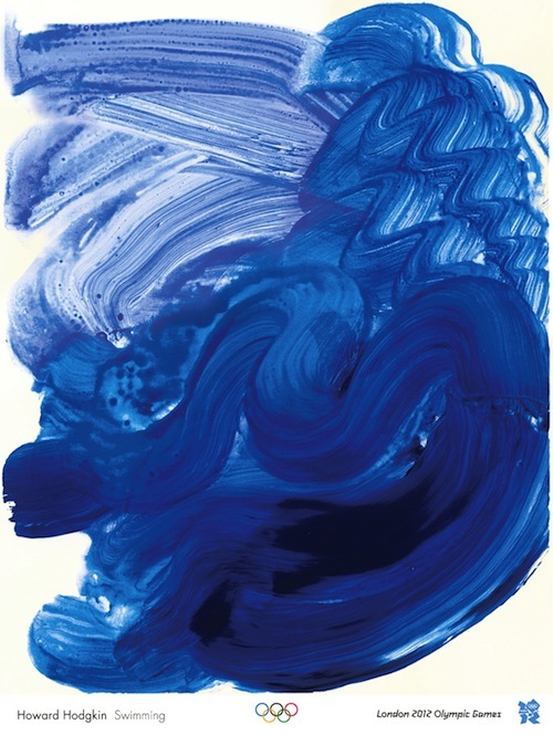 (STRICTLY EMBARGOED until 13.00 GMT 4 November 2011) Howard Hodgkin Swimming. Howard Hodgkin describes his paintings as representational pictures of emotional situations. For his Olympic print Hodgkin has created Swimming ? a deep, swirling mass of blue flooding across the page. In the darkest area of colour the outline of a figure can be made out as if pushing off after a tumble turn.  The fluidity of the brushstrokes perfectly captures the movement of water and the sensation of swimming.