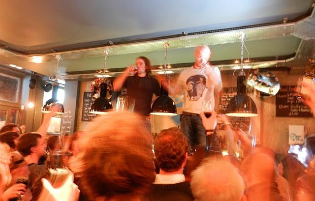 BrewDog founders James Watt and Martin Dickie toast the new bar.
