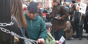 Disability Reform Protesters Chain Themselves Up At Oxford Circus