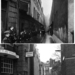 A rain-soaked Lamb's Conduit Passage, Holborn in 1912, then the site of an infants' school (top). Today, the site is by Conway Hall, which opened in 1929 (bottom).