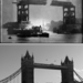 Tower Bridge in progress way back in 1893 (top). Tower Bridge in its modern day splendour (bottom).