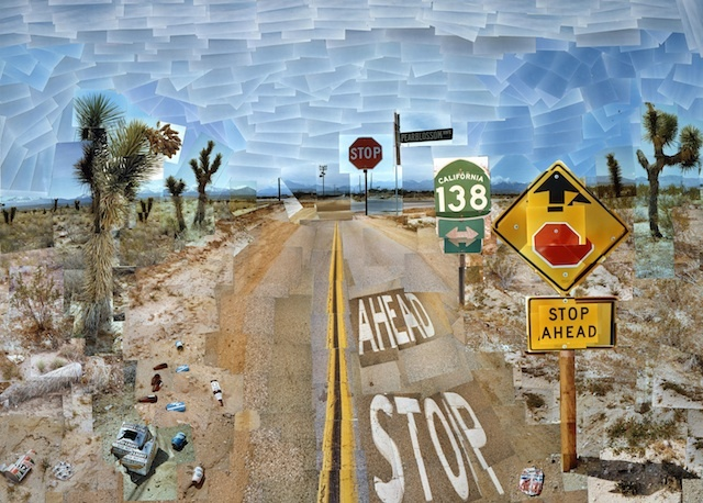 """""""PEARBLOSSOM HWY., 11-18TH APRIL 1986 #1"""" PHOTOGRAPHIC COLLAGE 47 X 64 1/2"""" �© DAVID HOCKNEY COLLECTION: THE J. PAUL GETTY MUSEUM, LOS ANGELES"""
