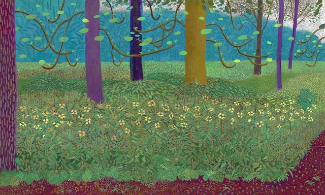 """""""UNDER THE TREES, BIGGER"""" 2010-11 OIL ON 20 CANVASES (36 X 48"""" EACH) 144 X 240"""" OVERALL �© DAVID HOCKNEY PHOTO CREDIT: RICHARD SCHMIDT"""