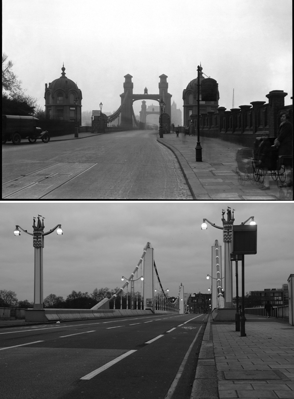 A deserted Chelsea Bridge in 1930, save for mother & daughter (assumed) on the right (top). Modern Chelsea Bridge senza mother & daughter (bottom).