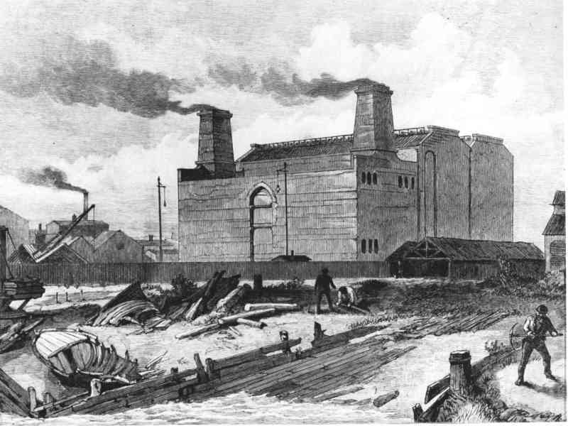 Deptford Power Station, built 1887. It was the first major station to use the new-fangled high voltage AC current. It was rebuilt a number of times, before it was decommissioned in 1983 and demolished in 1992.
