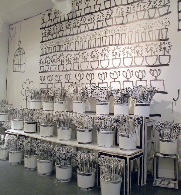 Anna Bruder's 2D wooden blooms by Peter Berthoud