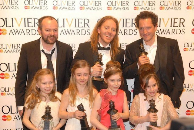 Matilda Director Matthew Warchus, Composer Tim Minchin, Actor Bertie Carvel Matilads: Sophia Kiely, Eleanor Worthington Cox, Kerry Ingram and Cleo Demetriou by James Carnegie Photography