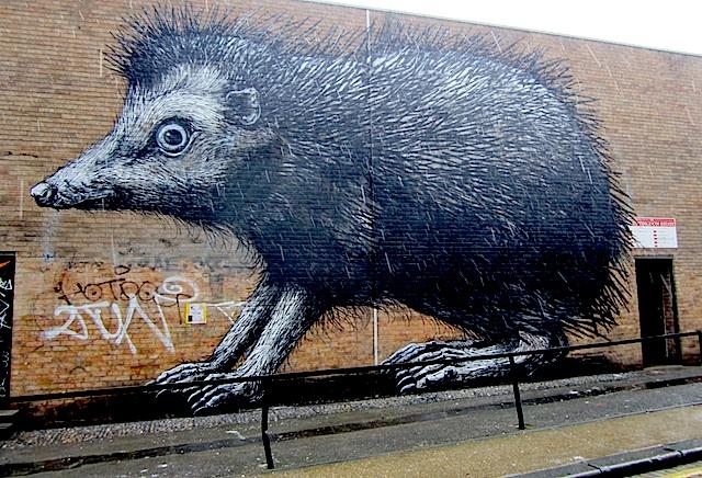 Alt Text: ROA Hedgehog pops up in Shoreditch