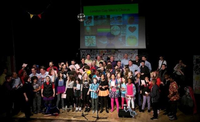 Singing at Stoke Newington School for Hackney Borough LGBT month celebrations 2011 (photo by Gary Manhine)