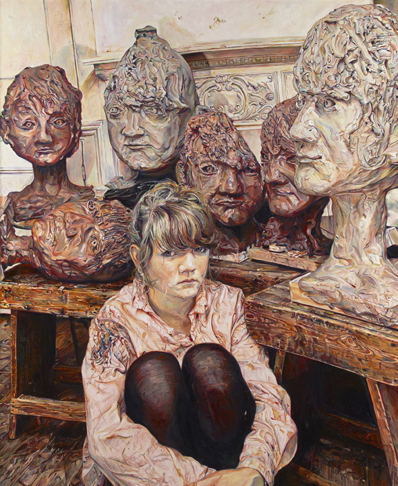 Tessa and the clay heads by Ruth Murray © Ruth Murray