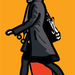 Julian Opie Woman with shopping bag and scarf. © Julian Opie and Lisson Gallery