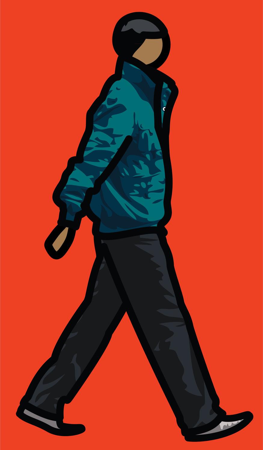Julian Opie, Man in parka. © Julian Opie and Lisson Gallery