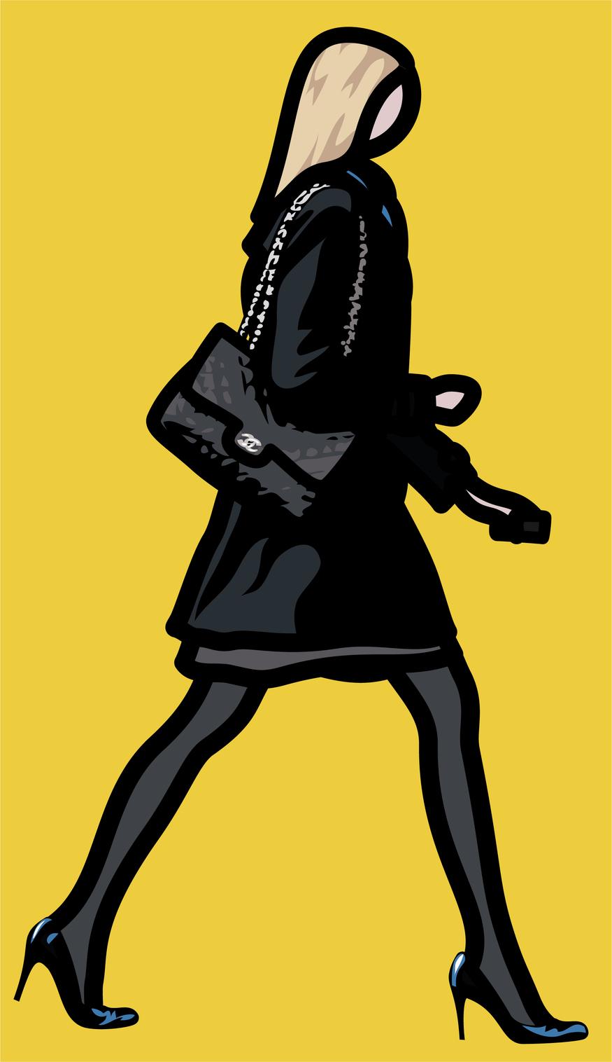 Julian Opie Woman in high heels with telephone. © Julian Opie and Lisson Gallery