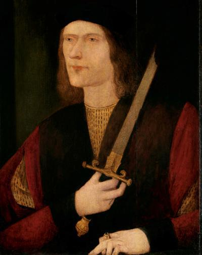 Portrait of Richard III with broken sword, unknown artist, c. 1523 – 1555. Oil on panel. © Society of Antiquaries of London, 2011