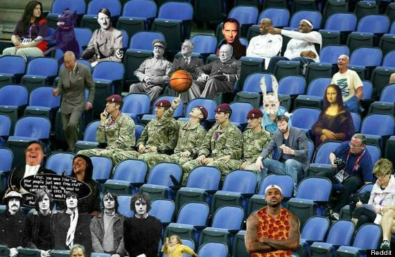 Criticism of empty seats led to them being filled by soldiers, and there friends. Part of a series by the Reddit community.