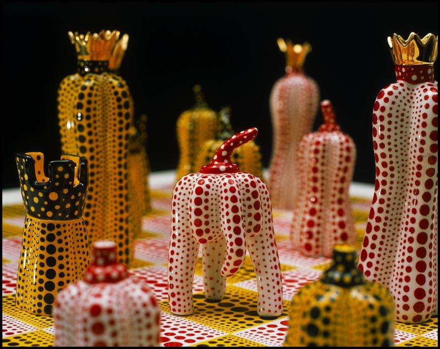 Yayoi Kusama Pumpkin Chess (detail). (c) Yayoi Kusama. Courtesy RS&A