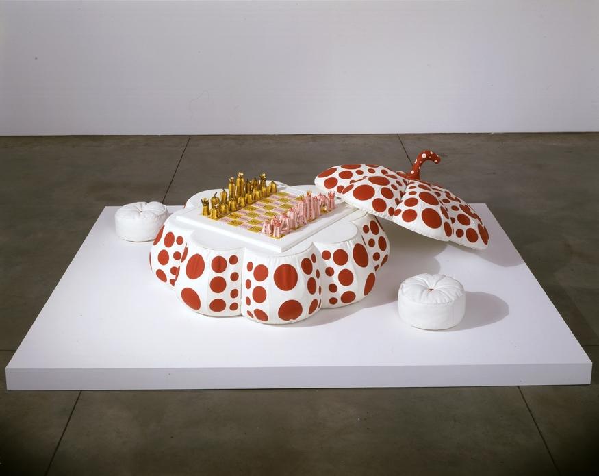 Yayoi Kusama Pumpkin Chess. (c) Yayoi Kusama. Courtesy RS&A