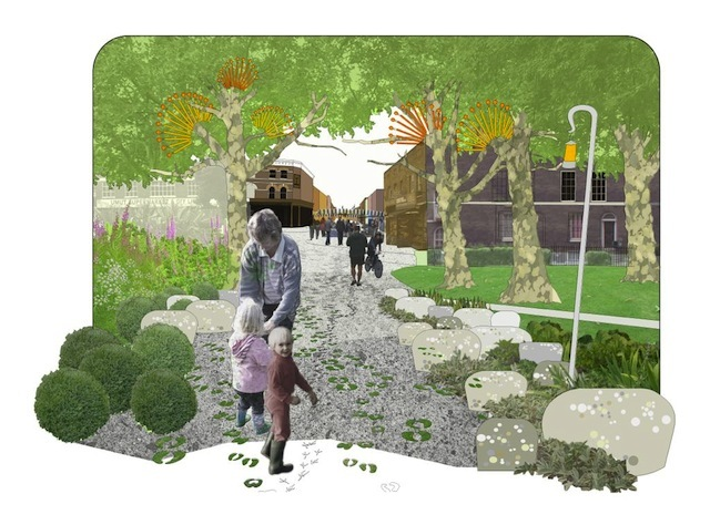 """Retracing London's drovers' roads by Howard Miller and Rowena Hay: """"A scheme to rediscover the ancient routes used to move livestock from pasture to market. These routes still exist in London – this idea focuses on the route from Hackney to Bishopsgate. Creation of landscapes of living heritage and green spaces for 'slow' activities."""""""