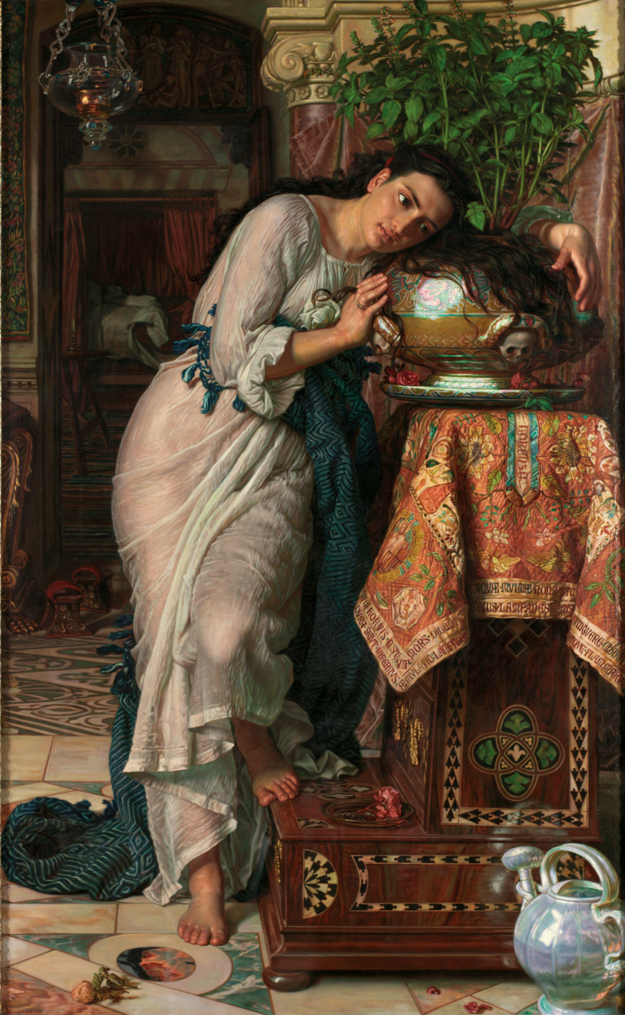 William Holman Hunt, Isabella and the Pot of Basil 1866-8, retouched 1886. Laing Art Gallery, Newcastle upon Tyne