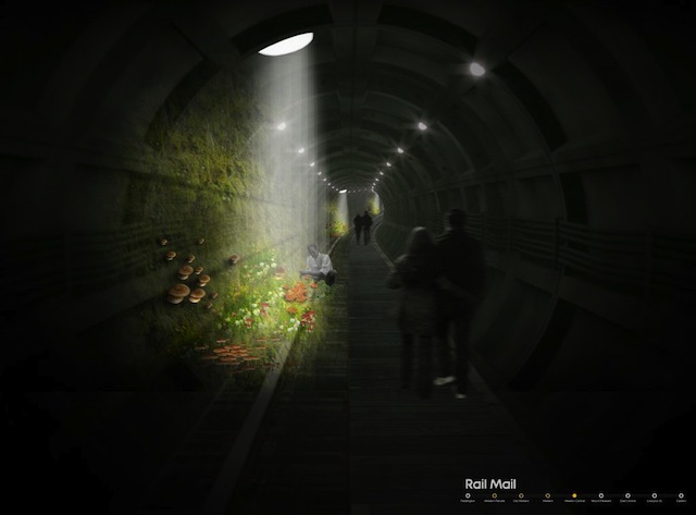 """Pop Down by Fletcher: """"Priest makes use of the hidden 'Mail Rail' tunnels beneath Oxford Street to create an urban, underground experience: urban mushroom farm with the introduction of daylight through a series of sculptural glass-fibre mushrooms at street level."""""""