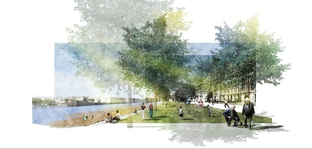 """A Green North Bank by Yue Rao and Chuanwen Yu: """"Transform the riverbank from Blackfriars Bridge to Lambeth Bridge into a linear green space to connect them."""""""