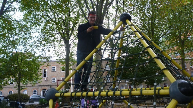 We weren't officially allowed into this playground without a child but Ben was keen to get climbing