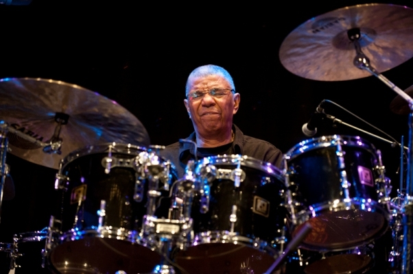 Drummer Jack DeJohnette is jazz royalty, caught here in mid-flow by Edu Hawkins