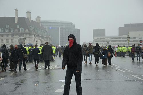 Masked protester